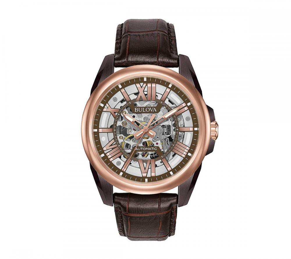 ブローバ 腕時計 メンズ Bulova Men's 43mm Classic Rose Goldtone Brown Leather Strap Automatic Watchブローバ 腕時計 メンズ