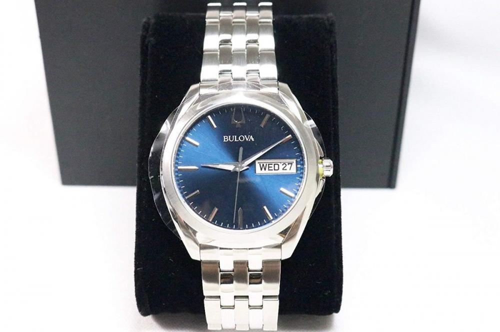 ブローバ 腕時計 メンズ Bulova Men's Stainless Steel Blue Dial Analog Watch with Date and Day 96C129ブローバ 腕時計 メンズ