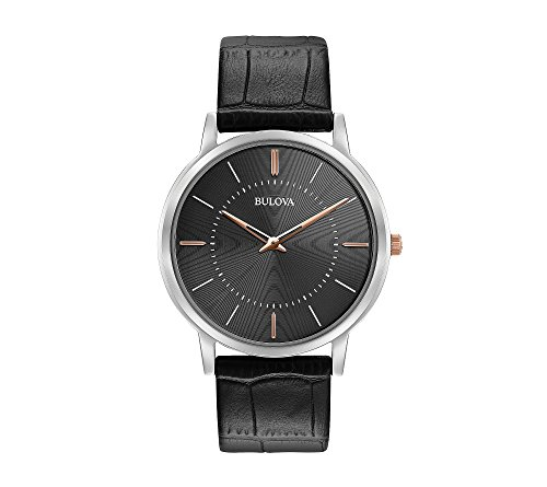 腕時計 ブローバ メンズ 【送料無料】Bulova Men's 40mm Classic Ultra-Slim Stainless Steel Black Leather Strap Watch腕時計 ブローバ メンズ