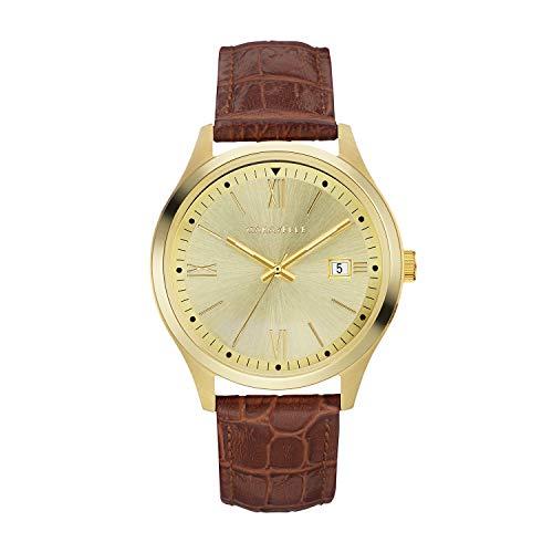 ブローバ 腕時計 メンズ 【送料無料】Caravelle Men's Stainless Steel Quartz Watch with Leather-Crocodile Strap, Brown, 20 (Model: 44B119)ブローバ 腕時計 メンズ