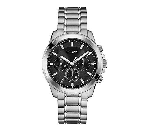ブローバ 腕時計 メンズ 【送料無料】Bulova Men's 41mm Classic Black Dial Stainless Steel Chronograph Watchブローバ 腕時計 メンズ