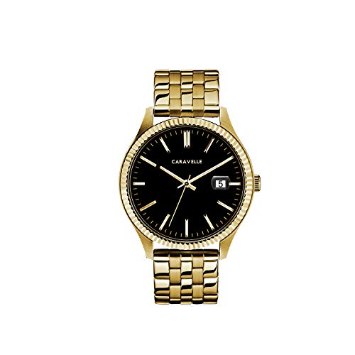腕時計 ブローバ メンズ 【送料無料】Caravelle Designed by Bulova Men's Quartz Watch with Stainless-Steel Strap, Gold, 20 (Model: 44B121)腕時計 ブローバ メンズ