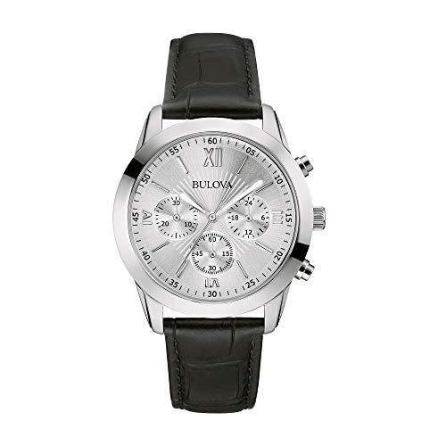 ブローバ 腕時計 メンズ 【送料無料】Bulova 96A162 Classic Silver Dial Chronograph Black Leather Strap Men's Watchブローバ 腕時計 メンズ