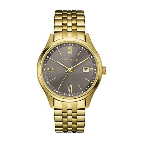 ブローバ 腕時計 メンズ Caravelle Men's Quartz Watch with Stainless-Steel Strap, Gold, 20 (Model: 44B122)ブローバ 腕時計 メンズ