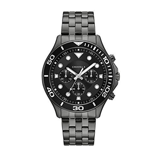 腕時計 ブローバ メンズ 【送料無料】Caravelle Designed by Bulova Men's Quartz Watch with Stainless-Steel Strap, Black, 22 (Model: 45A144)腕時計 ブローバ メンズ