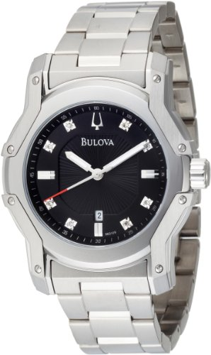 ブローバ 腕時計 メンズ Bulova Men's 96D109 Diamond Black Dial Bracelet Watchブローバ 腕時計 メンズ