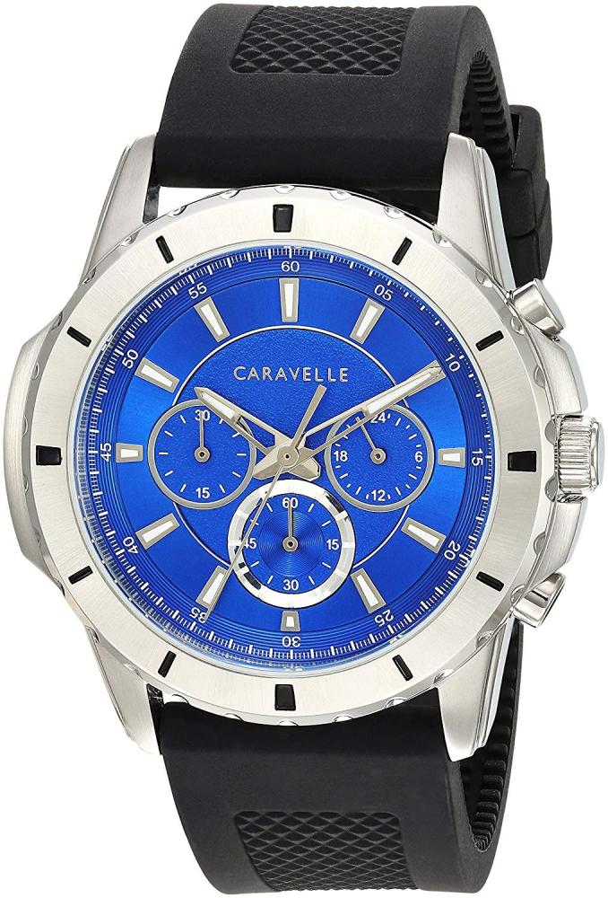 ブローバ 腕時計 メンズ 【送料無料】Caravelle Men's Stainless Steel Quartz Watch with Silicone Strap, Black, 23.5 (Model: 43A146)ブローバ 腕時計 メンズ