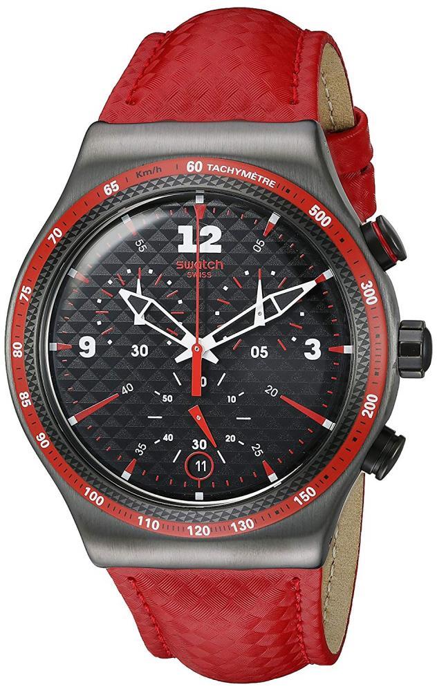 スウォッチ 腕時計 メンズ Swatch Men's YVM401 Irony Analog Display Swiss Quartz Red Watchスウォッチ 腕時計 メンズ