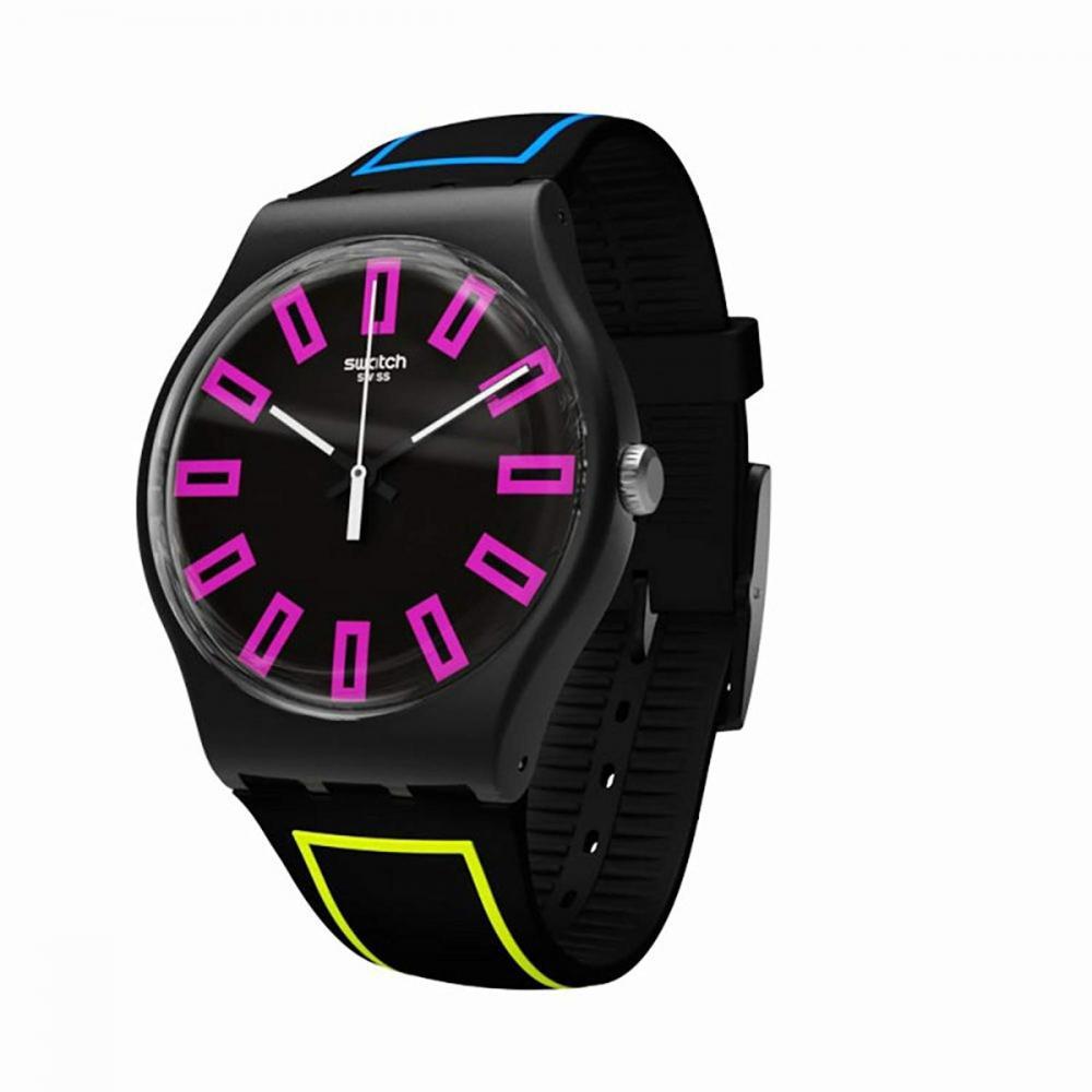 スウォッチ 腕時計 メンズ Swatch Around The Strap SUOB146 Black Silicone Quartz Fashion Watchスウォッチ 腕時計 メンズ