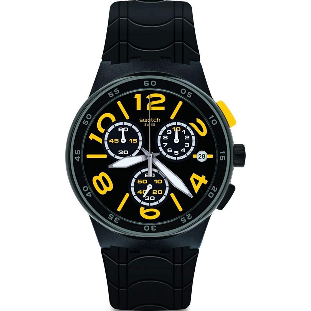 スウォッチ 腕時計 メンズ Swatch Originals Pneumatic Black Dial Silicone Strap Unisex Watch SUSB412スウォッチ 腕時計 メンズ