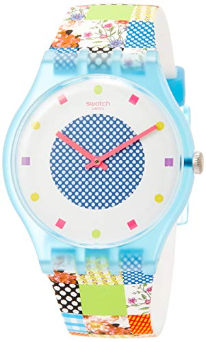 スウォッチ 腕時計 メンズ Swatch Originals Quilted Time White Dial Silicone Strap Unisex Watch SUOS108スウォッチ 腕時計 メンズ