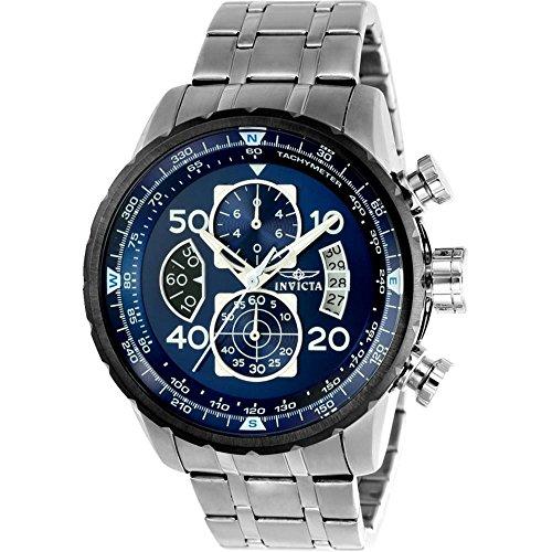 インヴィクタ インビクタ 腕時計 メンズ 【送料無料】New!!! Invicta 22970 Men's Aviator Blue Dial Steel Bracelet Chronograph Compass Watch with SYBインヴィクタ インビクタ 腕時計 メンズ
