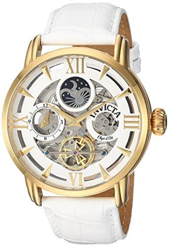 インヴィクタ インビクタ 腕時計 メンズ 【送料無料】Invicta Men's Objet d'Art Stainless Steel Automatic-self-Wind Watch with Leather-Calfskin Strap, White, 24 (Model: 22652)インヴィクタ インビクタ 腕時計 メンズ
