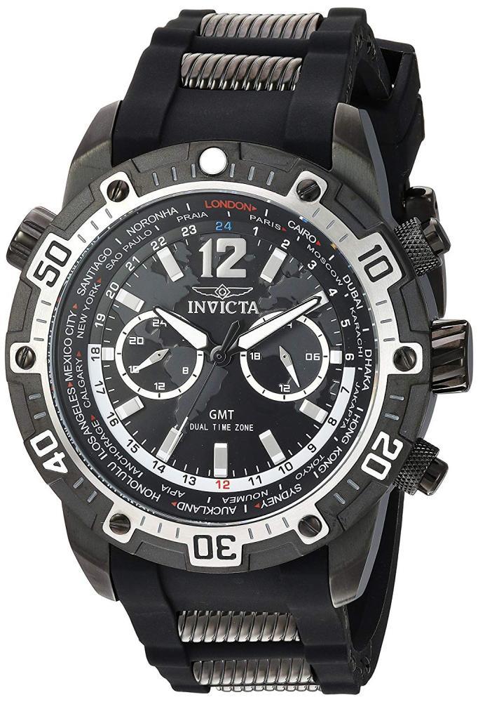 インヴィクタ インビクタ 腕時計 メンズ 【送料無料】Invicta Men's Aviator Quartz Watch with Silicone Stainless Steel Strap, Black, 26 (Model: 24583)インヴィクタ インビクタ 腕時計 メンズ