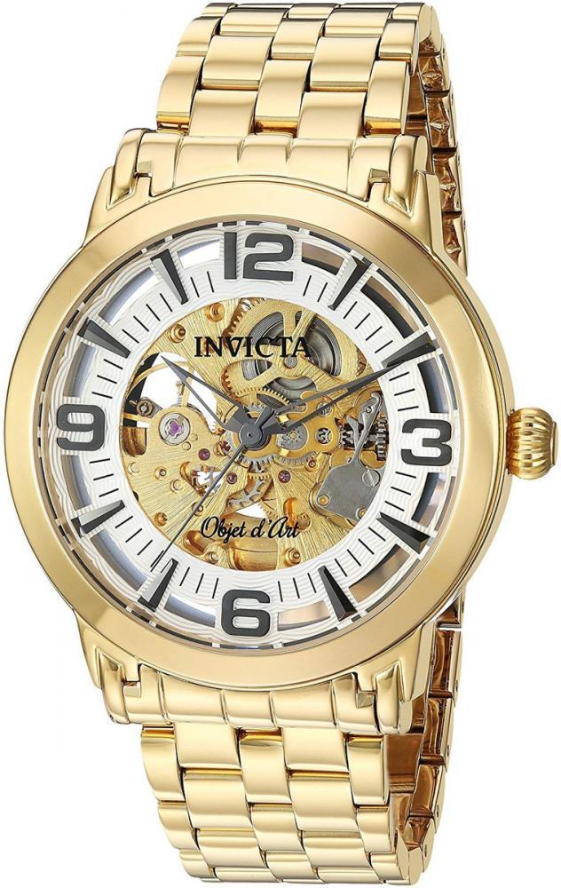 インヴィクタ インビクタ 腕時計 メンズ Invicta Men's Objet D Art Automatic-self-Wind Watch with Stainless-Steel Strap, Gold, 22 (Model: 22599)インヴィクタ インビクタ 腕時計 メンズ