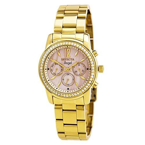 インヴィクタ インビクタ 腕時計 メンズ 【送料無料】Stainless Steel GOLD Case and Bracelet Mother of Pearl Dial Day and Date Diamond Accentsインヴィクタ インビクタ 腕時計 メンズ