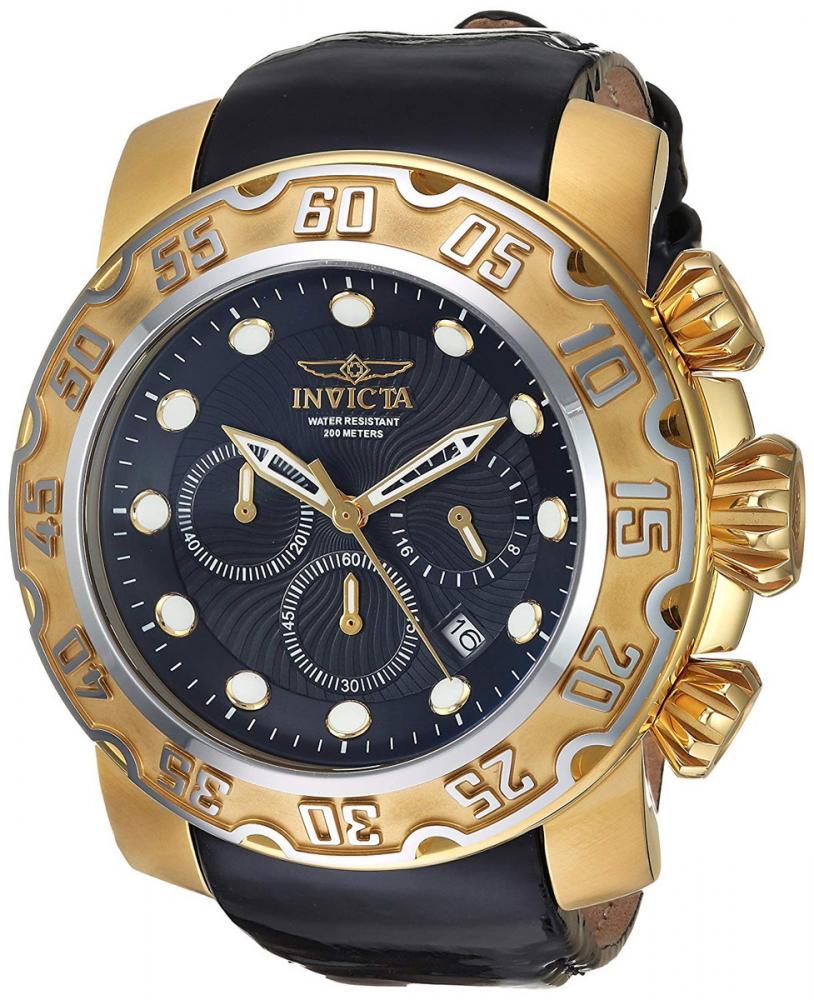 インヴィクタ インビクタ 腕時計 メンズ Invicta Men's Lupah Quartz Watch with Leather-Calfskin Strap, Black, 25 (Model: 22489)インヴィクタ インビクタ 腕時計 メンズ