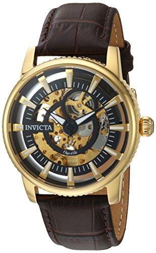 インヴィクタ インビクタ 腕時計 メンズ 【送料無料】Invicta Men's Objet d'Art Stainless Steel Automatic-self-Wind Watch with Leather-Calfskin Strap, Brown, 22 (Model: 22642)インヴィクタ インビクタ 腕時計 メンズ