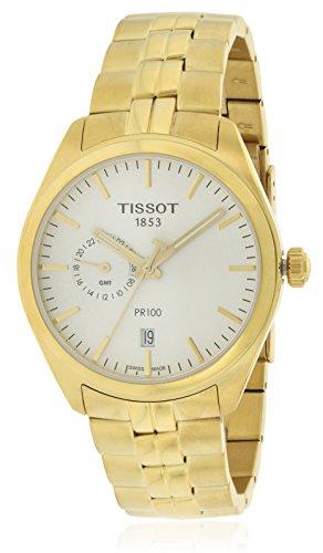 ティソ 腕時計 メンズ 【送料無料】Tissot PR 100 Dual Time Gold Tone Mens Stainless Steel Watch T1014523303100ティソ 腕時計 メンズ