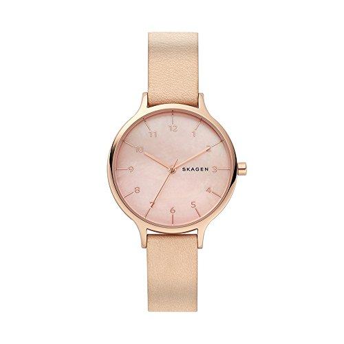 腕時計 スカーゲン レディース 【送料無料】Skagen Women's Stainless Steel Analog-Quartz Watch with Leather Calfskin Strap, Beige, 14 (Model: SKW2704)腕時計 スカーゲン レディース