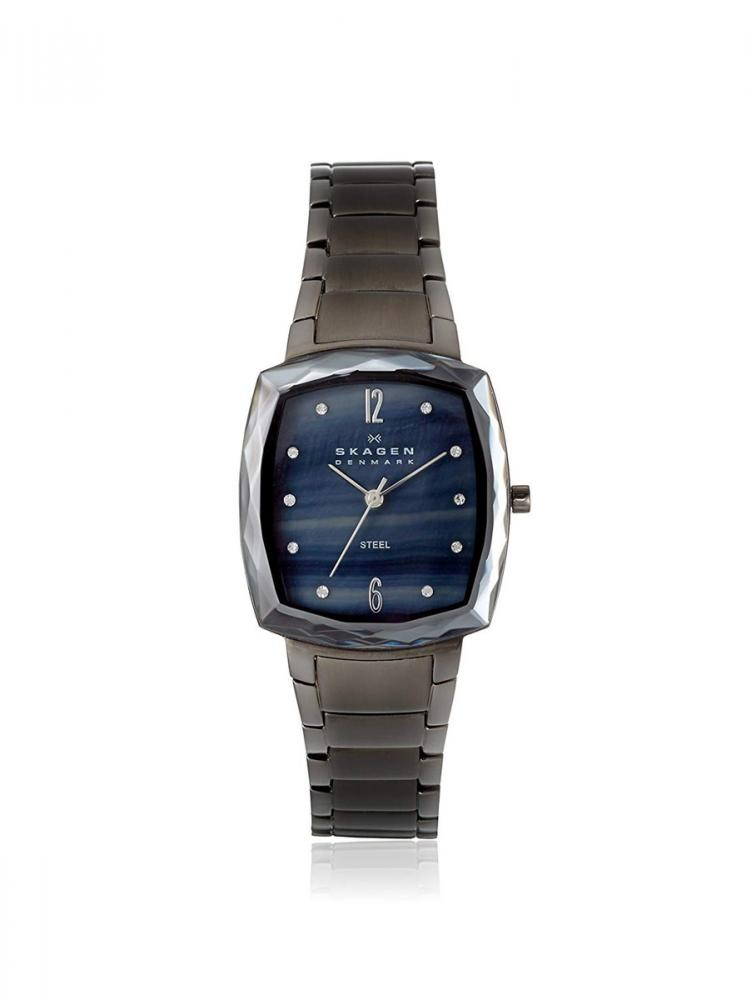 スカーゲン 腕時計 レディース Skagen Women's 657SMMX Steel Collection Black/Grey Mother of Pearl Watchスカーゲン 腕時計 レディース