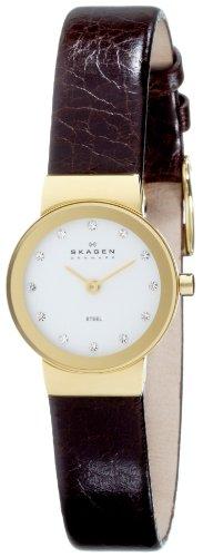 スカーゲン 腕時計 レディース Skagen 358XSGLD Ladies White Dial Brown Leather Strap Watchスカーゲン 腕時計 レディース