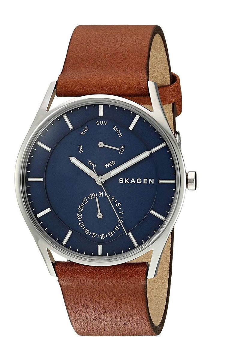 スカーゲン 腕時計 メンズ Skagen SKW6449 Men's Holst Leather Band 3-Hand Multifunction Day Date Watchスカーゲン 腕時計 メンズ