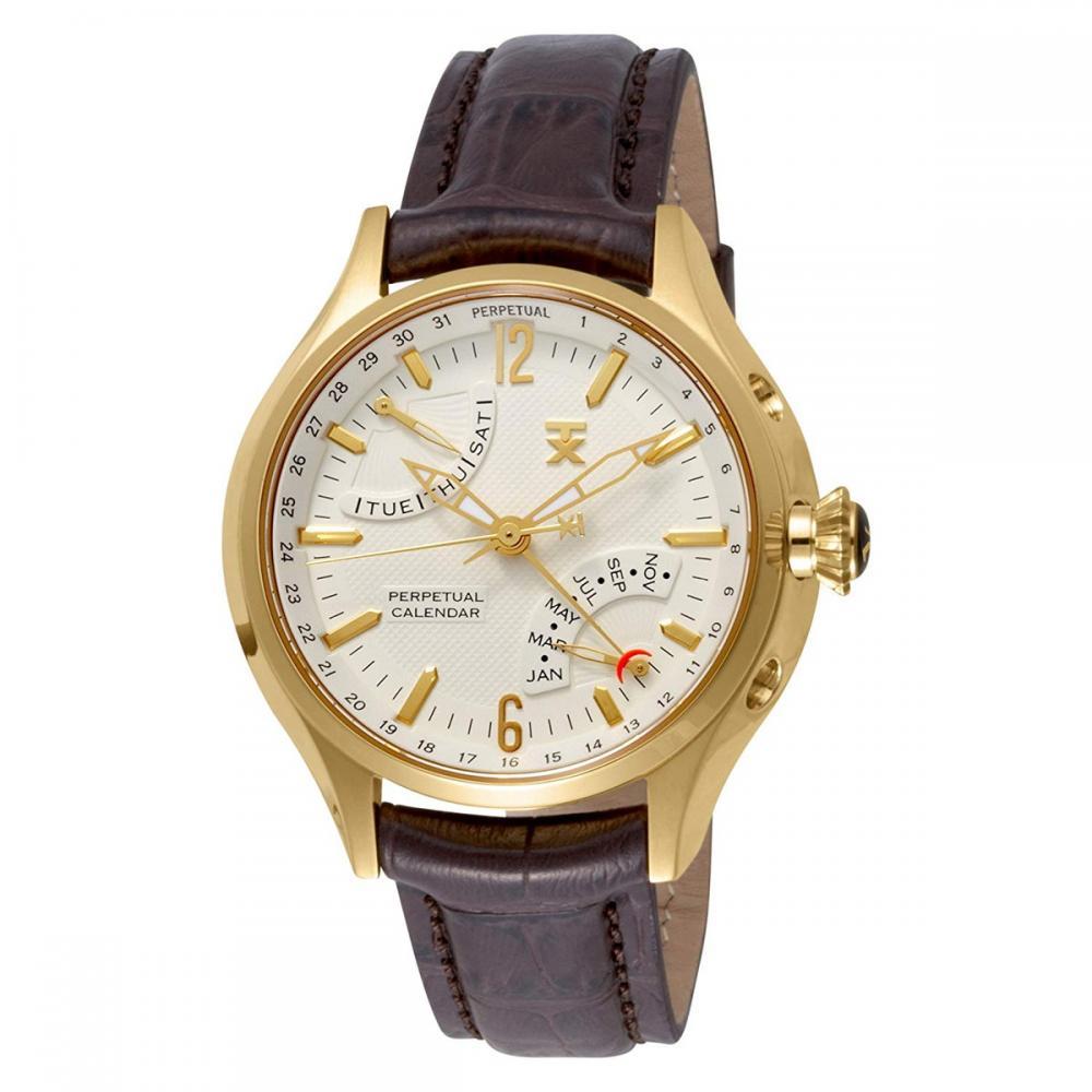 タイメックス 腕時計 メンズ Time Factory Men's Quartz Gold-Tone-Stainless-Steel and Leather Sport Watch, Color:Brown (Model: T3C388タイメックス 腕時計 メンズ