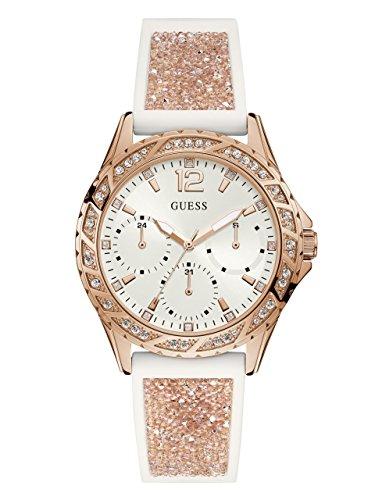 ゲス GUESS 腕時計 レディース GUESS Women's Stainless Steel Japanese-Quartz Watch with Crystal Silicone Strap, Color: White/Rose Gold-Tone, 20: ((Model: U1096L2))ゲス GUESS 腕時計 レディース
