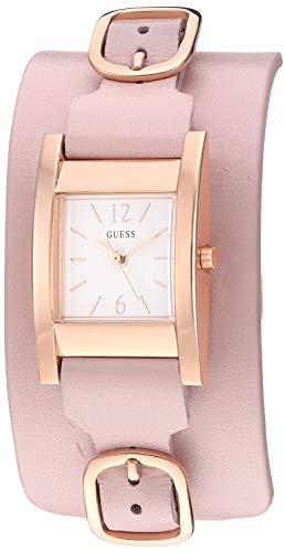 ゲス GUESS 腕時計 レディース 【送料無料】GUESS Square Pink + Rose Gold-Tone Genuine Leather Cuff Watch. Color: Pink (Model: U1137L4)ゲス GUESS 腕時計 レディース