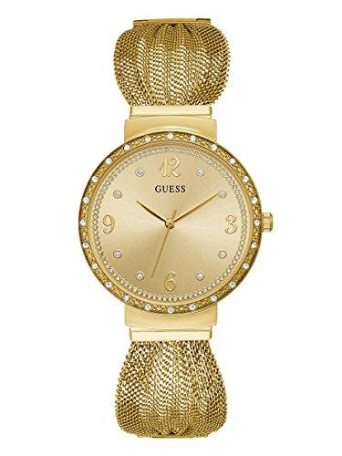 ゲス GUESS 腕時計 レディース GUESS Crystal Accented Gold-Tone Stainless Steel Mesh Bracelet Watch. Color: Gold-Tone (Model: U1083L2)ゲス GUESS 腕時計 レディース