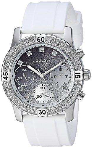 ゲス GUESS 腕時計 レディース GUESS Women's Stainless Steel Japanese-Quartz Watch with Silicone Strap, Color: White/Silver-Tone, 21: ((Model: U1098L1))ゲス GUESS 腕時計 レディース