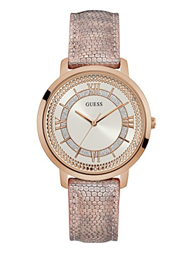 ゲス GUESS 腕時計 レディース 【送料無料】GUESS Women's Stainless Steel Textured Leather Strap Crystal Accented Watch, Color: Pink Metallic/Rose Gold-Tone (Model: U0934L5)ゲス GUESS 腕時計 レディース