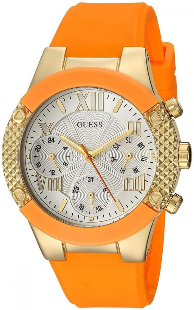ゲス GUESS 腕時計 レディース GUESS Women's Stainless Steel Quartz Watch with Silicone Strap, Orange, 0.5 (Model: U0958L1)ゲス GUESS 腕時計 レディース