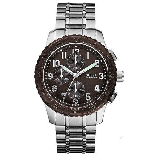 ゲス GUESS 腕時計 メンズ Guess Men's U13604G1 Silver Stainless-Steel Quartz Watch with Brown Dialゲス GUESS 腕時計 メンズ