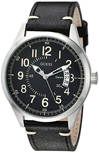 ゲス GUESS 腕時計 メンズ 【送料無料】GUESS Men's Stainless Steel Japanese-Quartz Watch with Leather Strap, Color: Black/Silver-Tone, 22 (Model: U1102G1)ゲス GUESS 腕時計 メンズ