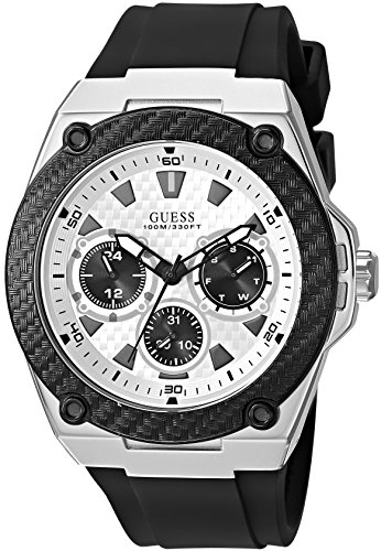 "ゲス GUESS 腕時計 メンズ 【送料無料】GUESS Comfortable Black Stain Resistant Silicone Watch with Day, Date + 24 Hour Military/Int""l Time. Color: Black (Model: U1049G3)ゲス GUESS 腕時計 メンズ"