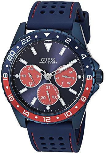 【即納】【送料無料】【当店1年保証】ゲス GUESS メンズ腕時計 U1108G1 クロノグラフ シリコンベルト ブルー/レッドケース 直径42mm