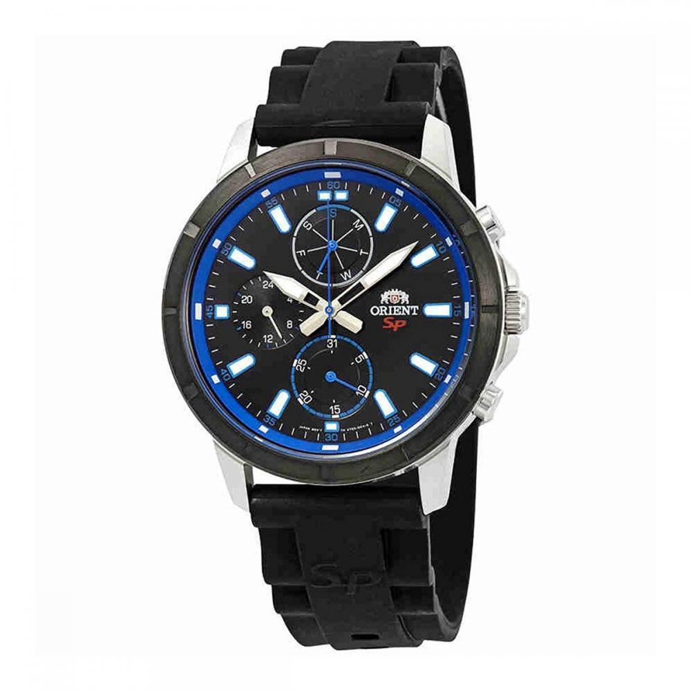 オリエント 腕時計 メンズ 【送料無料】Orient Sport Black and Blue Dial Black Rubber Men's Watch FUY03004Bオリエント 腕時計 メンズ