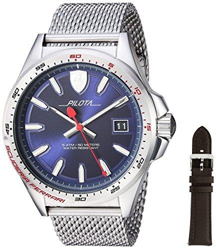 腕時計 フェラーリ メンズ 【送料無料】Ferrari Pilota, Quartz Stainless Steel and Interchangeable Strap/Bracelet Watch, Silver, Men, 830491腕時計 フェラーリ メンズ