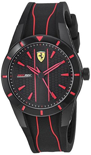 腕時計 フェラーリ メンズ 【送料無料】Ferrari Men's Red Rev Quartz Watch with Silicone Strap, Black, 18 (Model: 830479)腕時計 フェラーリ メンズ