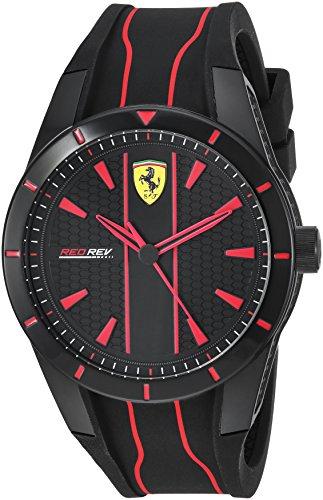 腕時計 フェラーリ メンズ 【送料無料】Ferrari Men's Red Rev Quartz Watch with Silicone Strap, Black, 21 (Model: 830481)腕時計 フェラーリ メンズ