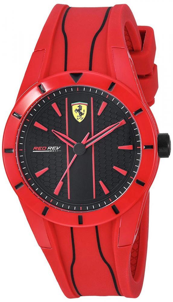 フェラーリ 腕時計 メンズ Ferrari Men's Red Rev Quartz Watch with Silicone Strap, 19 (Model: 830494)フェラーリ 腕時計 メンズ