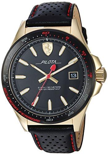 フェラーリ 腕時計 メンズ 【送料無料】Ferrari Men's Pilota Stainless Steel Quartz Watch with Leather Calfskin Strap, Black, 21 (Model: 830490)フェラーリ 腕時計 メンズ