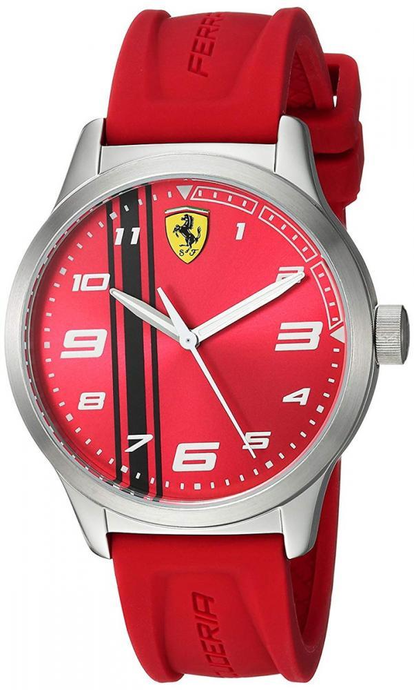 フェラーリ 腕時計 メンズ Ferrari Pitlane, Quartz Stainless Steel and Silicone Strap Casual Watch, Red, Boy, 810014フェラーリ 腕時計 メンズ