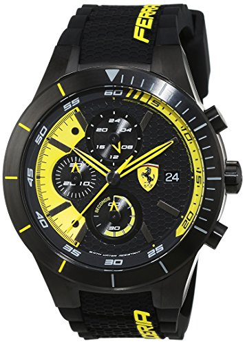 フェラーリ 腕時計 メンズ 【送料無料】Ferrari 0830261 Men's RedRev EVO Black & Yellow Dial Chrono Watchフェラーリ 腕時計 メンズ