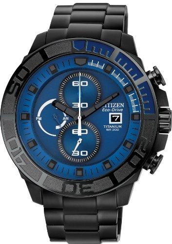 シチズン 逆輸入 海外モデル 海外限定 アメリカ直輸入 【送料無料】Citizen #CA0525-50L Men's Eco Drive Black IP Titanium Blue Dial 200M Chronograph Watchシチズン 逆輸入 海外モデル 海外限定 アメリカ直輸入