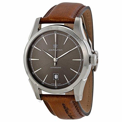 ハミルトン 腕時計 メンズ Hamilton H42415591 Spirit of Liberty Automatic Grey Dial Leather Men's Watchハミルトン 腕時計 メンズ