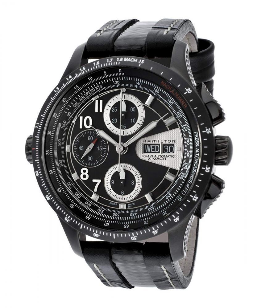 ハミルトン 腕時計 メンズ 夏のボーナス特集 Hamilton H76686735 Men's Khaki X-Mach Automatic Chronograph Black Dial Black Leather Watchハミルトン 腕時計 メンズ 夏のボーナス特集