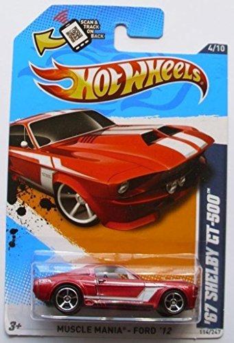 ホットウィール マテル ミニカー ホットウイール HOT WHEELS 2012 Muscle Mania - Ford '67 SHELBY GT-500 metallic dark 赤ホットウィール マテル ミニカー ホットウイール